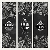 Bakery background. Linear graphic. Bread banner collection. Vertical banner set.