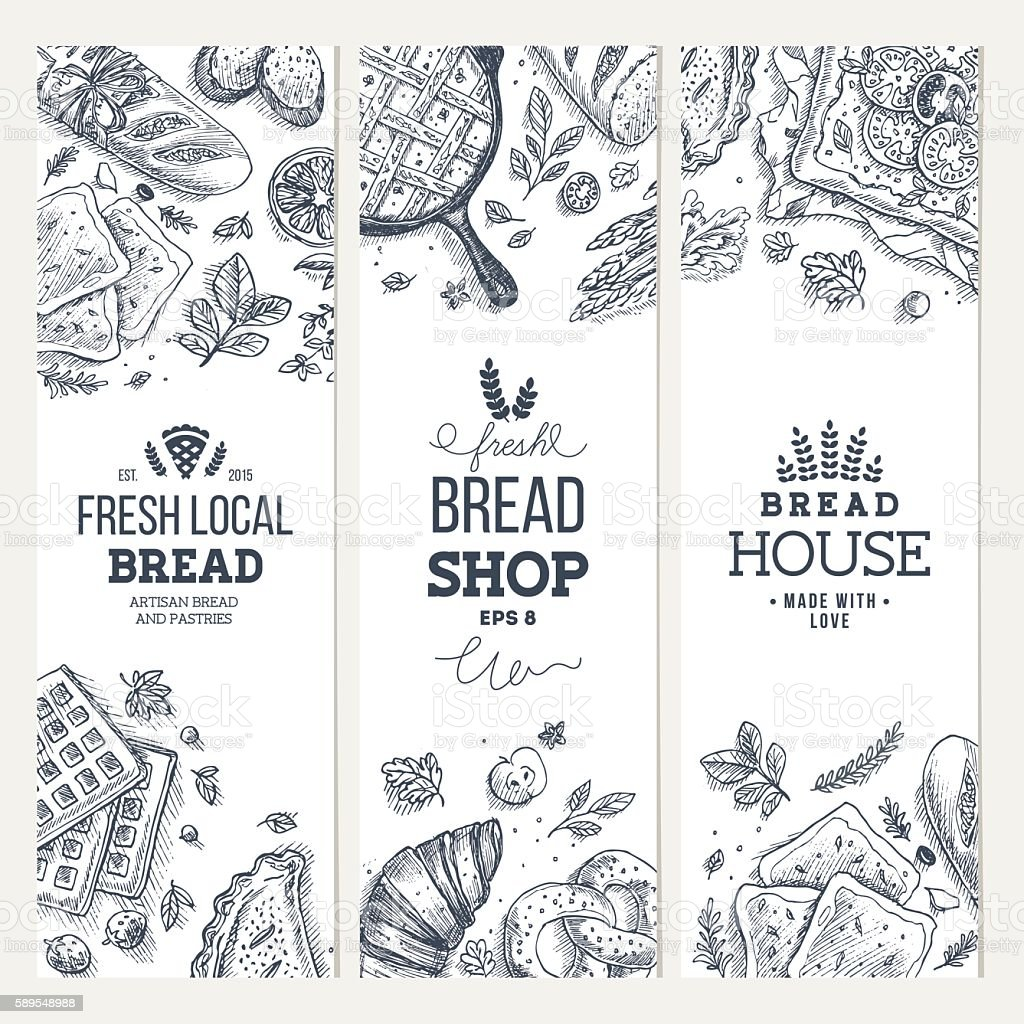 Bakery background. Linear graphic. Bread banner collection. Vertical banner set. vector art illustration