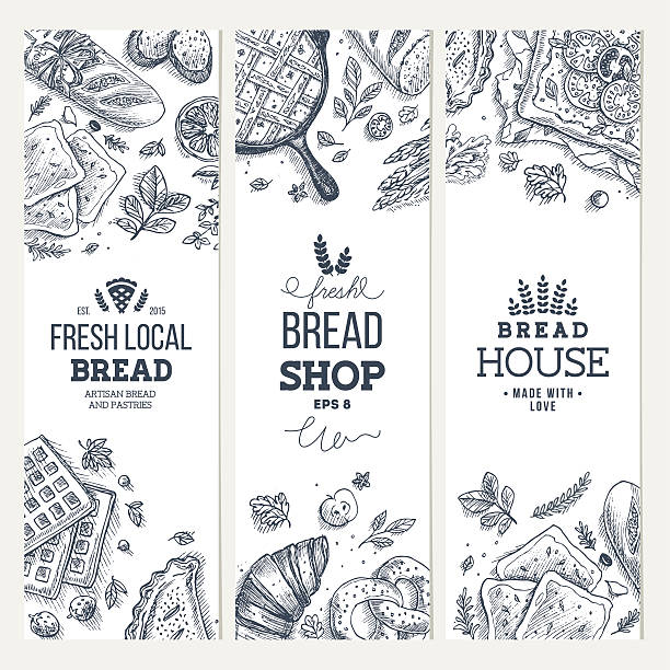 Bakery background. Linear graphic. Bread banner collection. Vertical banner set. EPS 8 bread borders stock illustrations