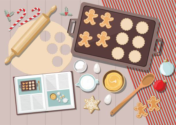 ilustrações de stock, clip art, desenhos animados e ícones de bakery background with ingredients for cooking christmas baking. sugar, eggs and spices on kitchen table,top view. - christmas table