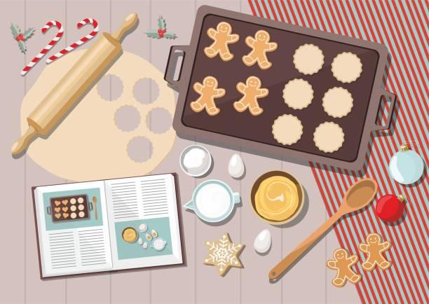 illustrazioni stock, clip art, cartoni animati e icone di tendenza di sfondo da forno con ingredienti per cucinare la cottura natalizia. zucchero, uova e spezie sul tavolo della cucina, vista dall'alto. - christmas table