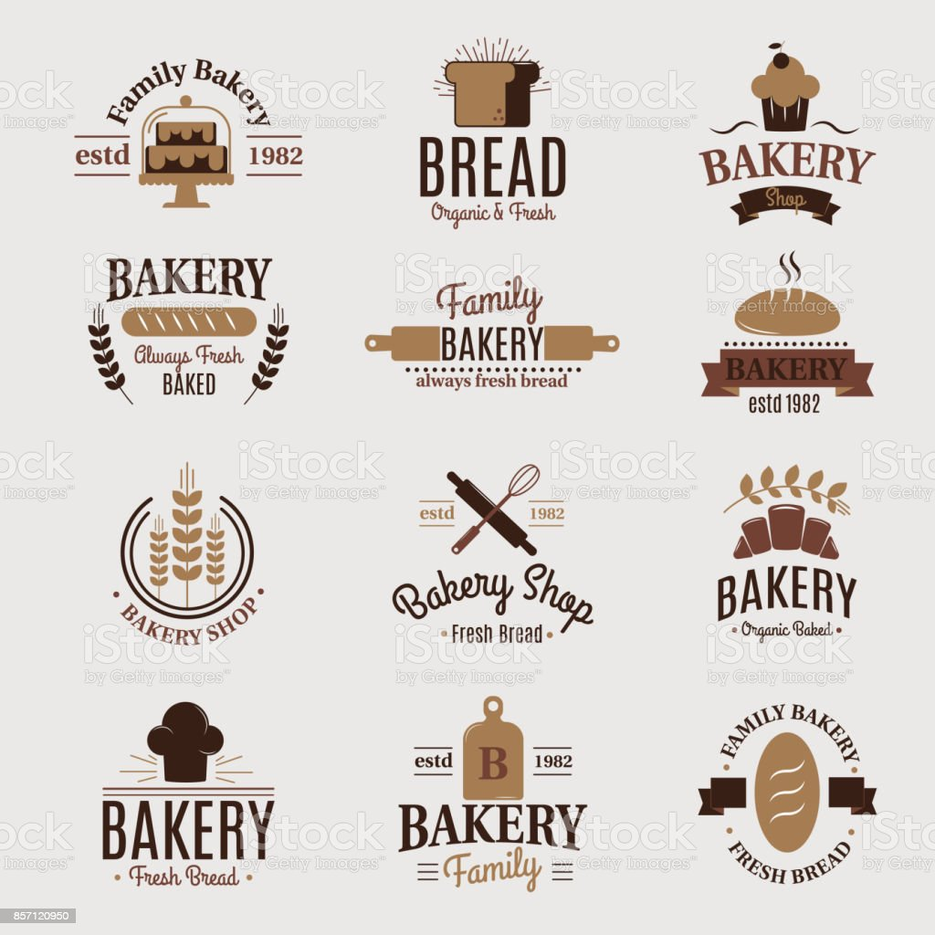 Bakery badge icon fashion modern style wheat vector label design element confectioner sweet-shop loaf and bread logo - illustrazione arte vettoriale