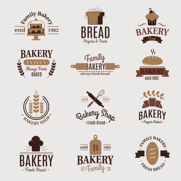stockillustraties, clipart, cartoons en iconen met bakkerij badge pictogram mode moderne stijl tarwe vector label design element banketbakker sweet-winkel brood en brood logo - bakery
