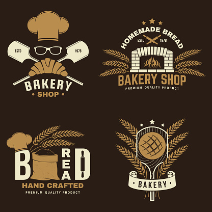 Bakery badge, logo. Vector illustration Typography design with bag with flour, oven, bread shovels, hop and balance scale silhouette. Template for restaurant identity objects, packaging and menu
