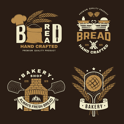 Bakery badge, logo. Vector illustration Typography design with dough, oven, bread shovels, hop and balance scale silhouette. Template for restaurant identity objects, packaging and menu