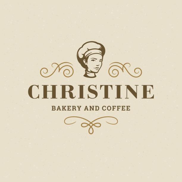 ilustrações de stock, clip art, desenhos animados e ícones de bakery badge or label retro vector illustration baker women holding basket with bread silhouette for bakehouse - baking bread at home