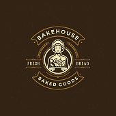 Bakery badge or label retro vector illustration baker women holding basket with bread silhouette for bakehouse. Vintage typographic logo design.
