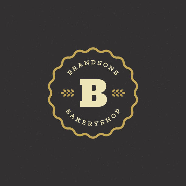 Bakery badge or label retro vector illustration Bakery badge or label retro vector illustration. Ear wheat silhouette for bakehouse. Vintage typographic logo design. bakery stock illustrations