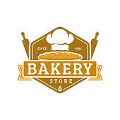 Bakery badge template, vector illustration. Bakery shop emblem, vintage retro style