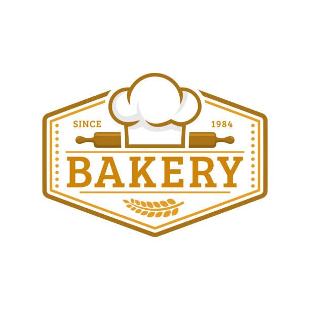 fırın rozeti şablonu, vektör illustration. fırın mağazası amblemi, vintage retro tarzı - ekmekçi dükkânı stock illustrations