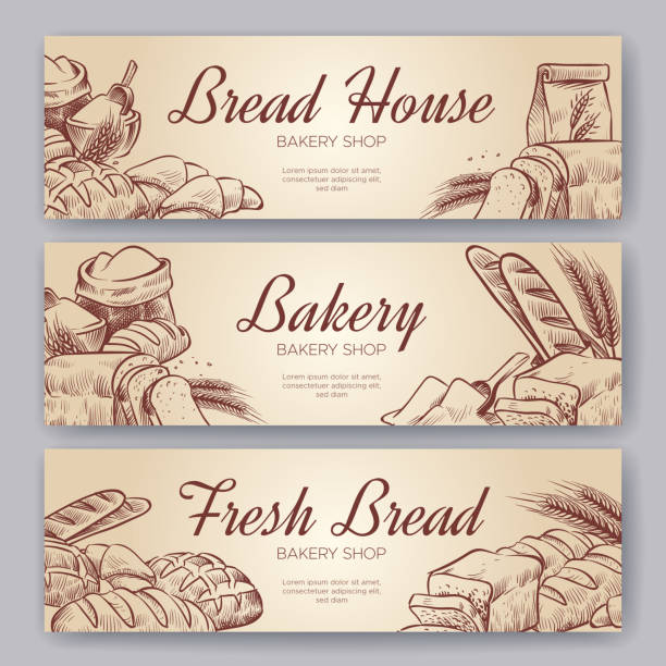 bakery banners. hand drawn cooking bread bakery bagel breads pastry rye bake baking pumpernickel culinary banner set - пекарня stock illustrations