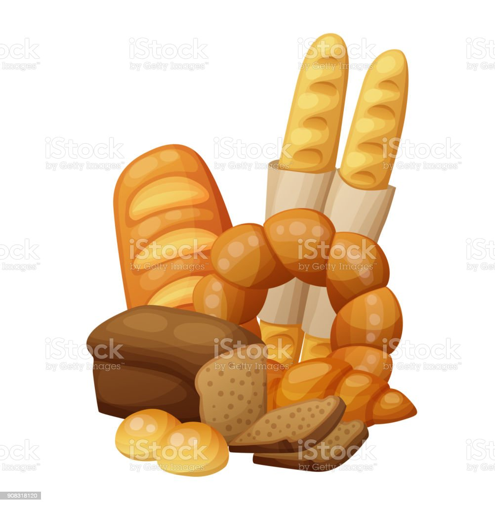 Bakery bread, buns, croissant, loaf vector art illustration