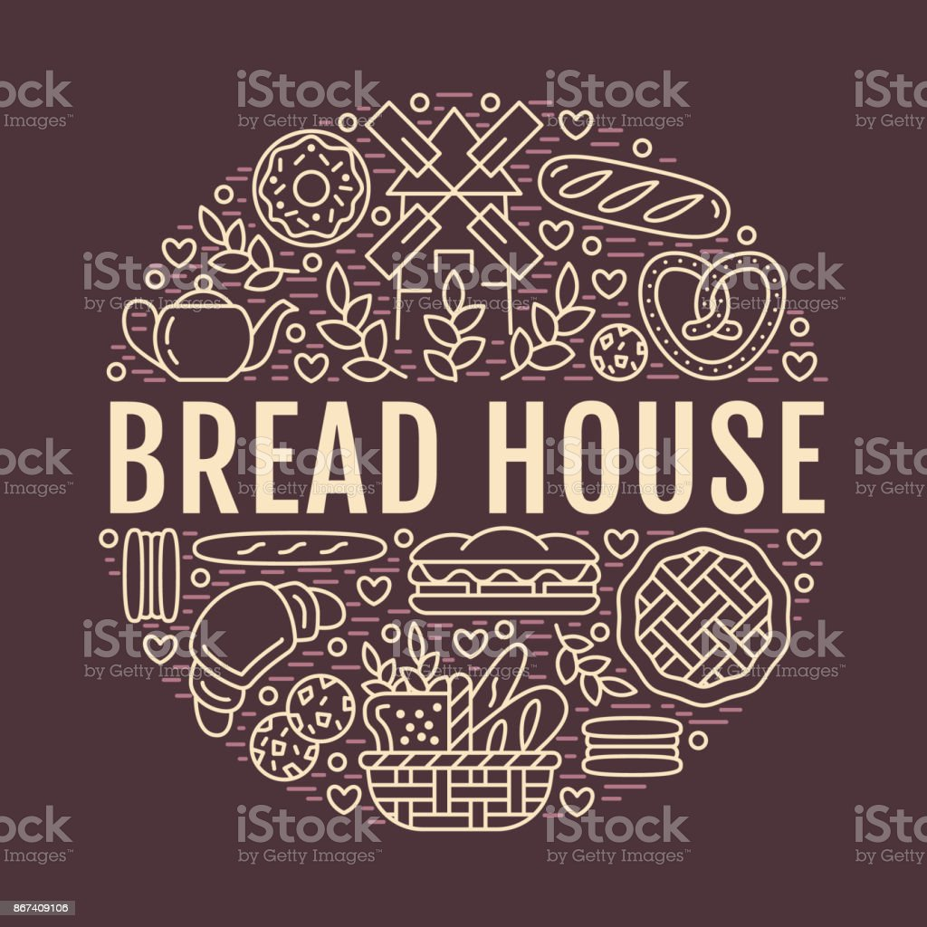 Bakery, bread house poster template. Vector food line icons, illustration of sweets, pretzel croissant, muffin, pastry, cupcake pie, mill. Confectionery products dark banner with place for text vector art illustration