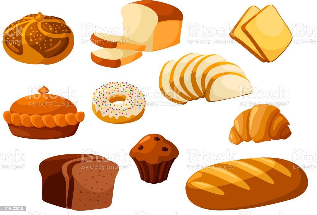 Bakery bread isolated vector icons vector art illustration