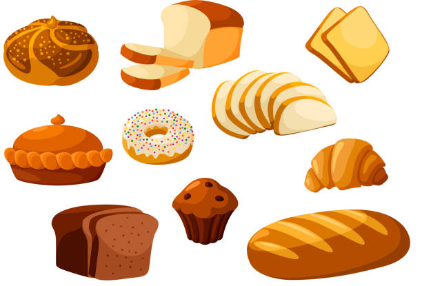 bakery bread isolated vector icons - フランス料理点のイラスト素材/クリップアート素材/マンガ素材/アイコン素材