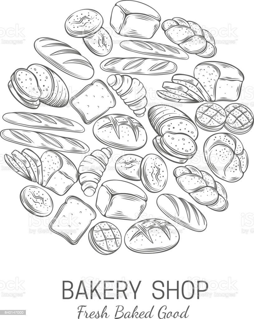 Bakery, bread shop poster template vector art illustration