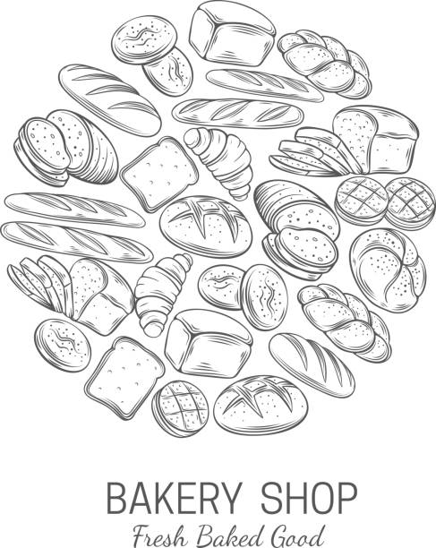 Bakery, bread shop poster template Bakery, bread shop poster template. Bakery products bread whole, french baguette, croissant for breakfast and food design bread drawings stock illustrations