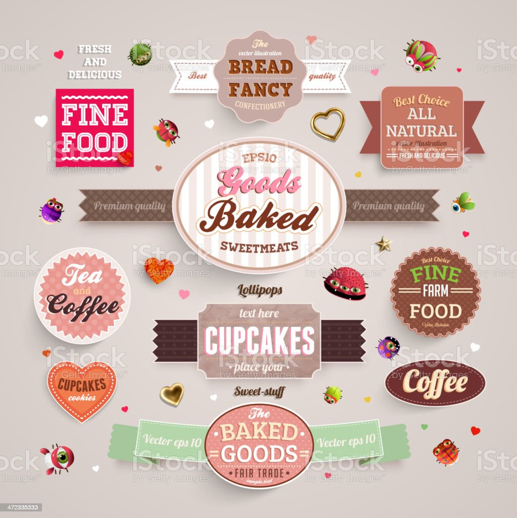 Bakery cafe labels set vector art illustration