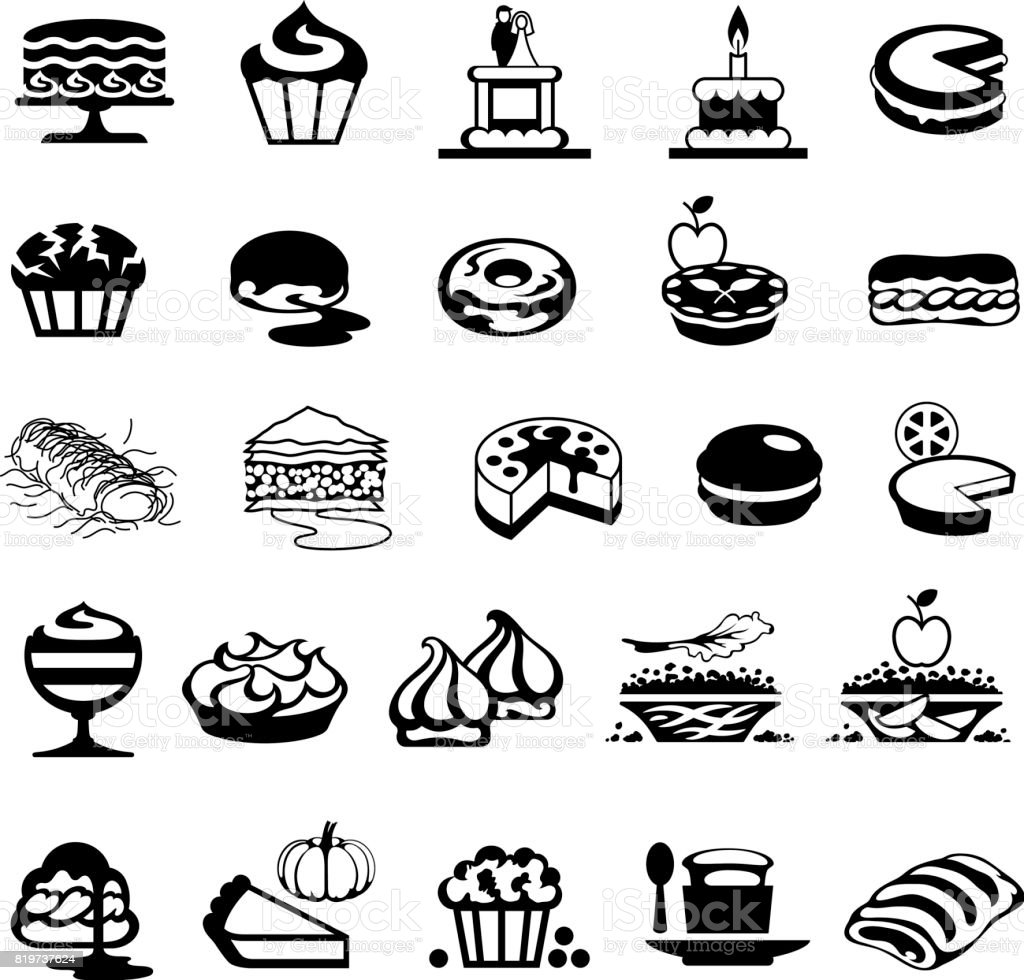 Bakery, Cakes and Desserts Icons vector art illustration