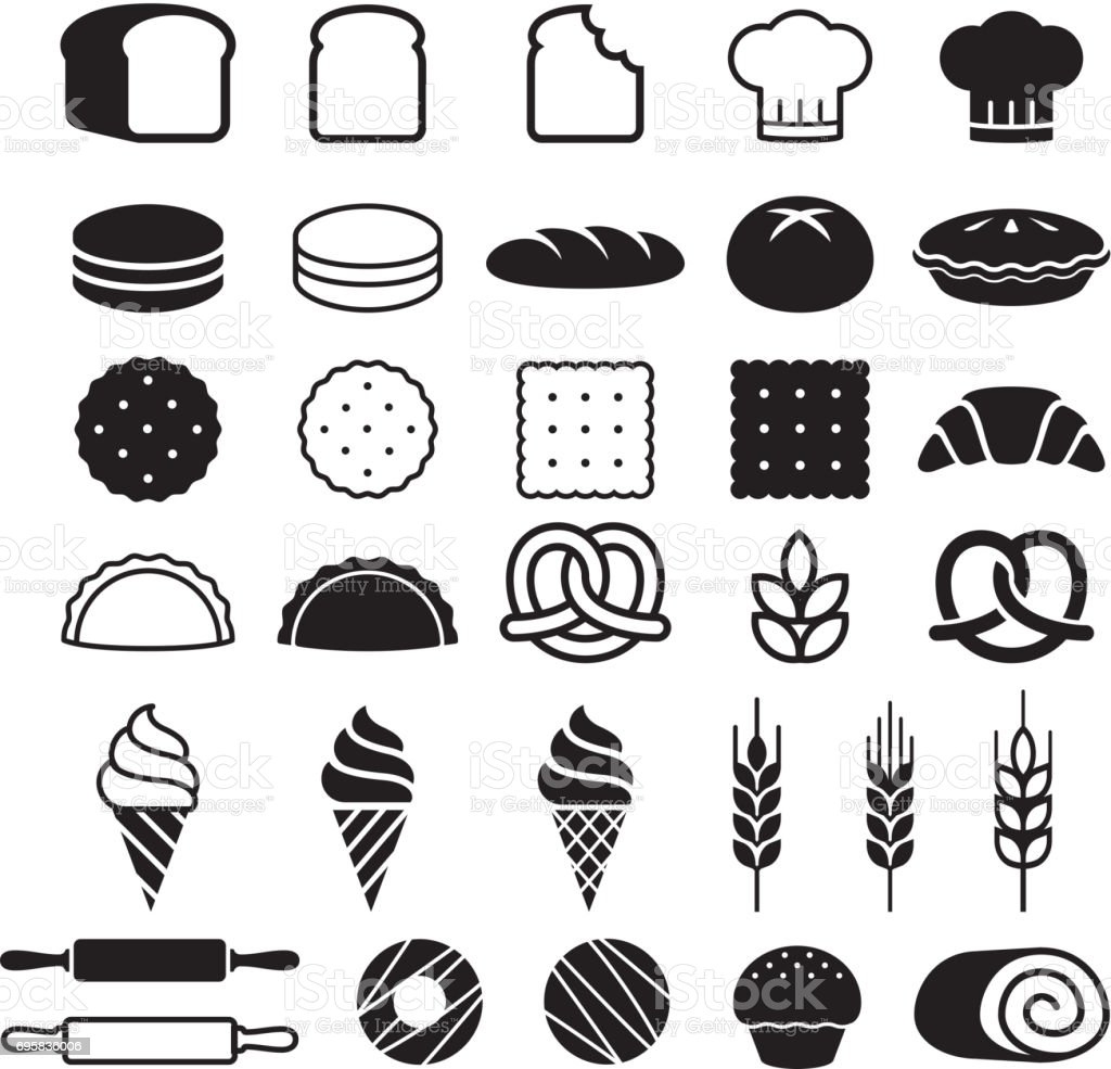 Bakery cakes icons set. Vector illustration. vector art illustration