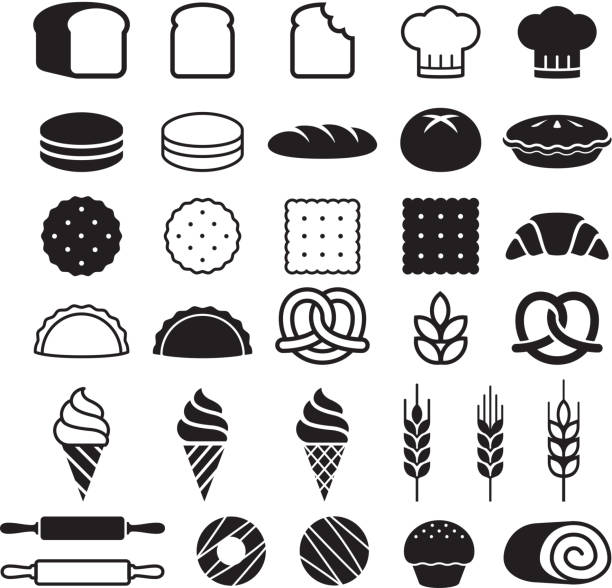 Bakery cakes icons set. Vector illustration. vector art illustration