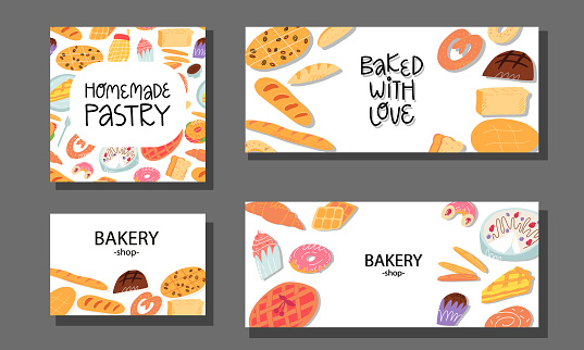 Bakery calling card, advertising banner, flyer templates set. Various traditional American cuisine, Italian and Belgian, German, Spanish sweet pastry and desserts, bread on isolated background.