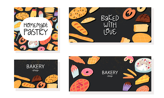 Bakery calling card, advertising banner, flyer templates set. Various traditional American cuisine, Italian and Belgian, German, Spanish sweet pastry and desserts, bread on black background.