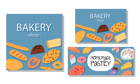 Bakery calling card, advertising banner, flyer templates set.Various traditional American cuisine,Italian and Belgian, German, Spanish sweet pastry and desserts, bread on checked tablecloth background
