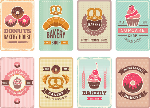 Bakery cards design. Fresh sweet foods cupcakes donuts and other baking products illustrations for vintage vector menu in retro style