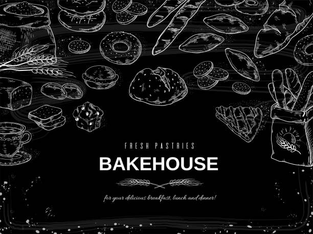 Bakery chalk background. Blackboard bread and cakes banner, hand drawn cookies and pies design template. Vector bakery and dessert Bakery chalk background. Blackboard bread and cakes banner, hand drawn cookies and pies design template. Vector illustrations bakery and dessert on black background cake borders stock illustrations