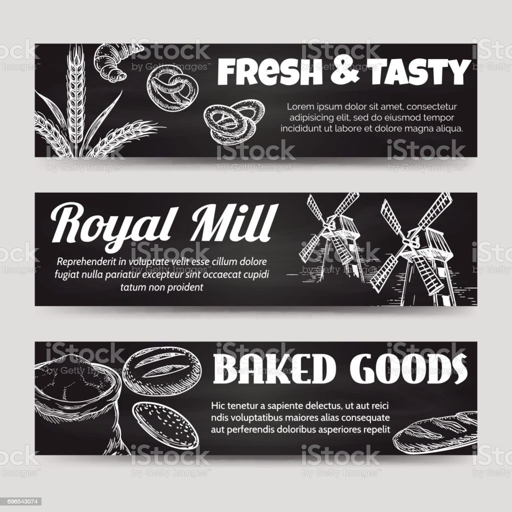 bakery chalkboard banners template set stock vector art more