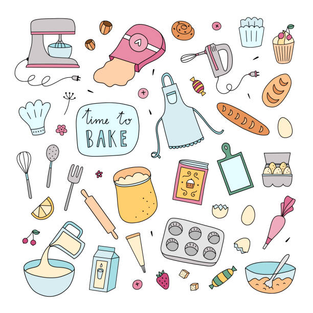 Bakery clipart. Hand drawn vector cooking and baking set of illustrations Bakery clipart. Hand drawn vector cooking and baking set of illustrations cooking clipart stock illustrations