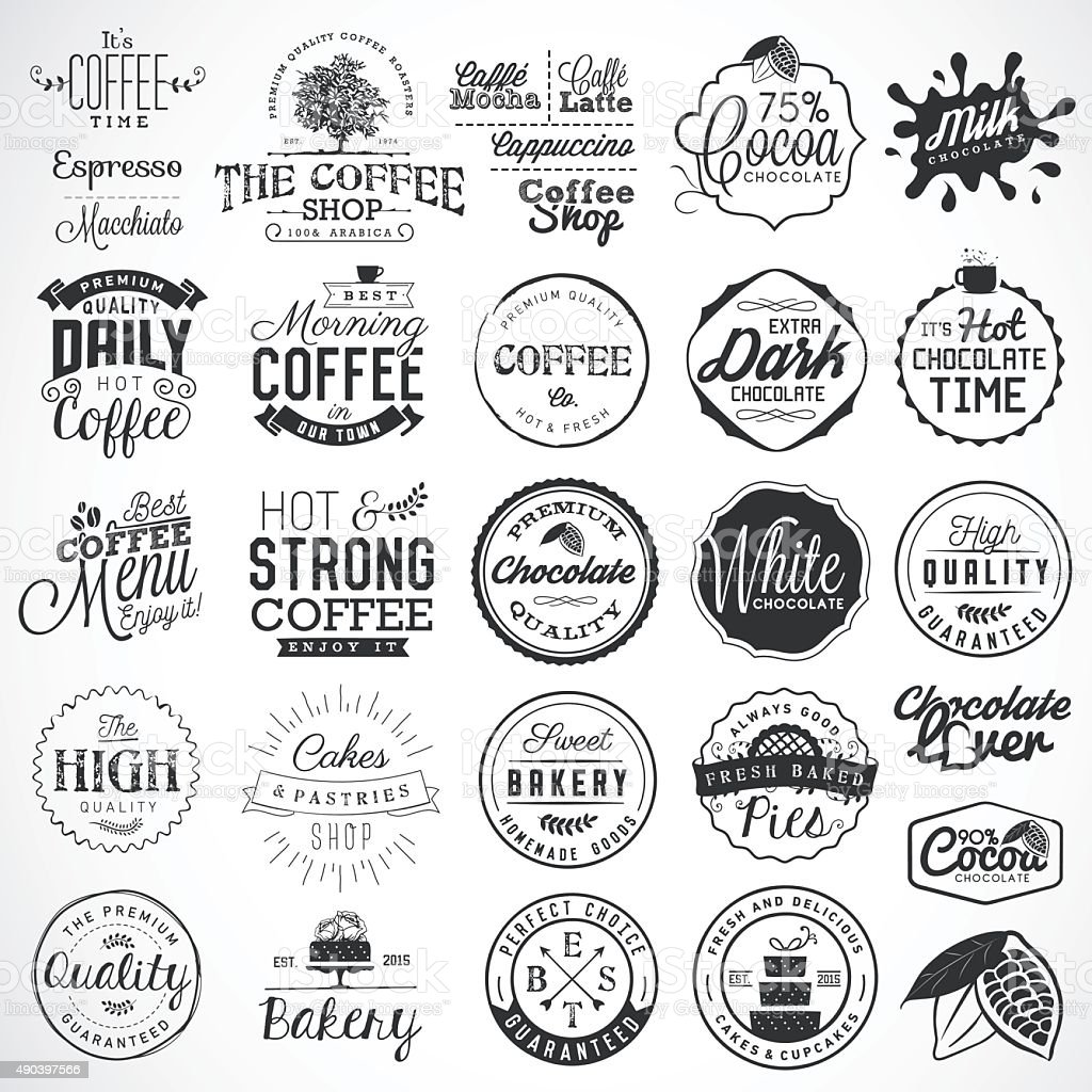 Bakery, Coffee, Chocolate Labels, Badges and Design Elements vector art illustration