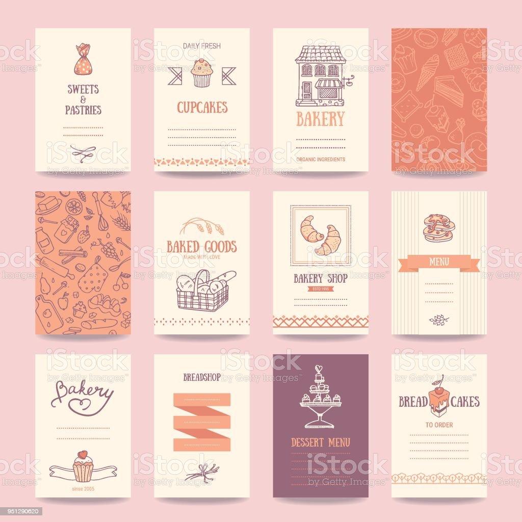 Bakery Coffee Shop Business Cards Menu Templates Stock Vector Art ...