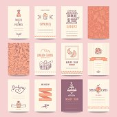 Bakery shop business cards, cafe menu, restaurant banners, food flyers. Artistic templates collection with hand drawn design elements: candy, cake, croissant, pancake, bread, muffin, sweets pattern.