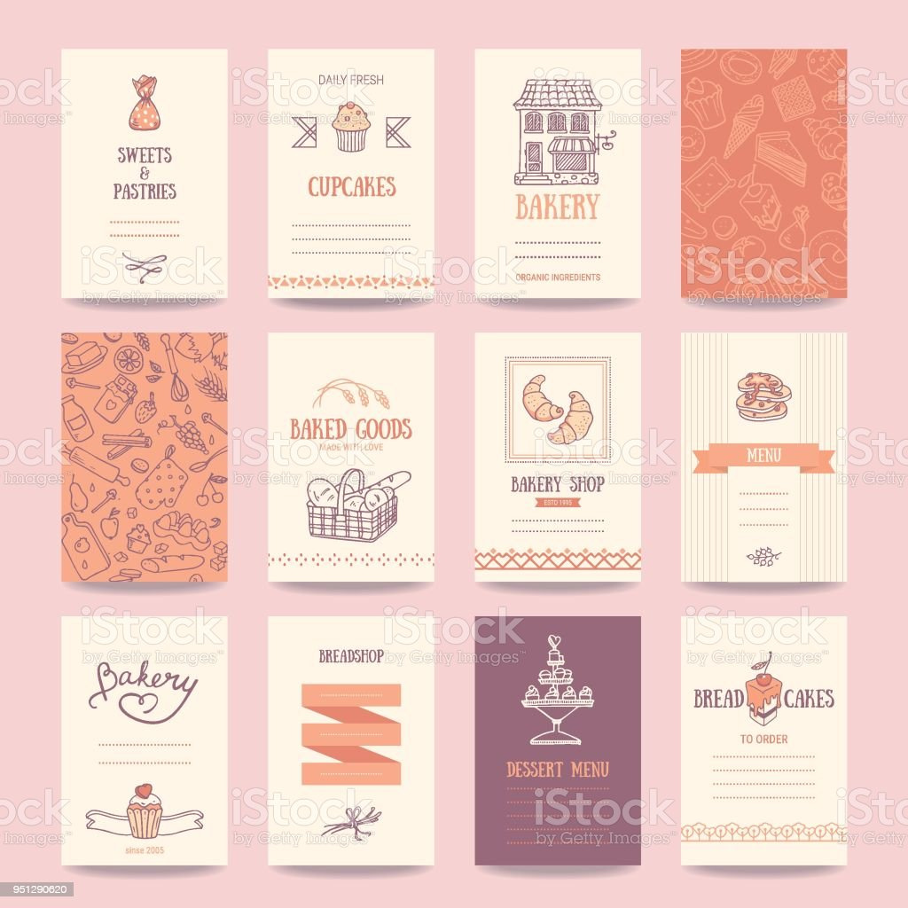 Bakery, Coffee Shop Business Cards, Menu Templates vector art illustration