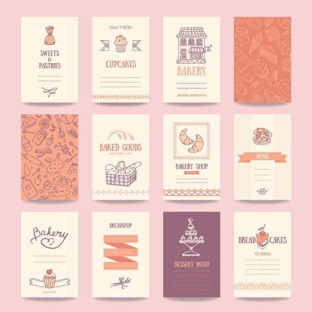 Bakery, Coffee Shop Business Cards, Menu Templates Bakery shop business cards, cafe menu, restaurant banners, food flyers. Artistic templates collection with hand drawn design elements: candy, cake, croissant, pancake, bread, muffin, sweets pattern. cake drawings stock illustrations