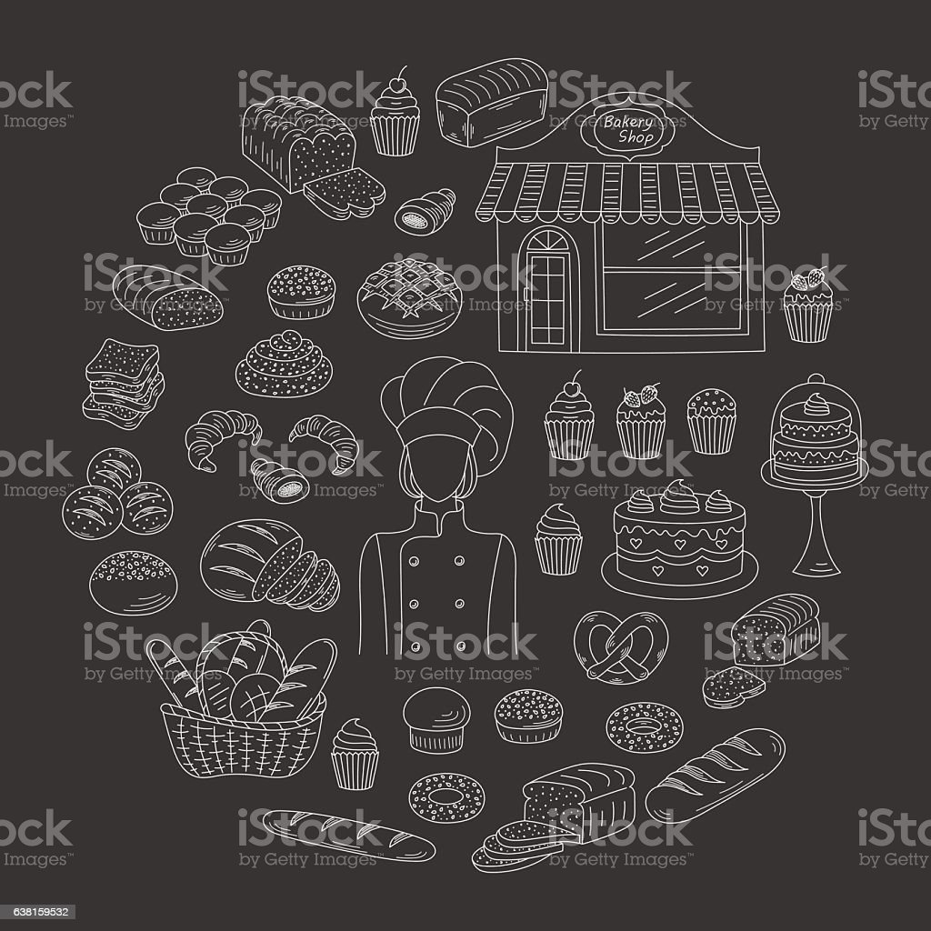 Bakery collection doodle style vector illustrations isolated on white - Illustration vectorielle