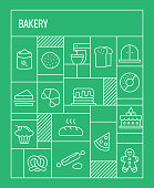 Bakery Concept. Geometric Retro Style Banner and Poster Concept with Bakery Line Icons