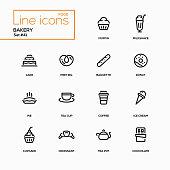 Bakery concept - line design icons set. Everything about tasty pastry, dessert. Muffin, milkshake, cake, pretzel, baguette, donut, pie, tea cup, coffee, ice cream, cupcake, croissant, pot, chocolate