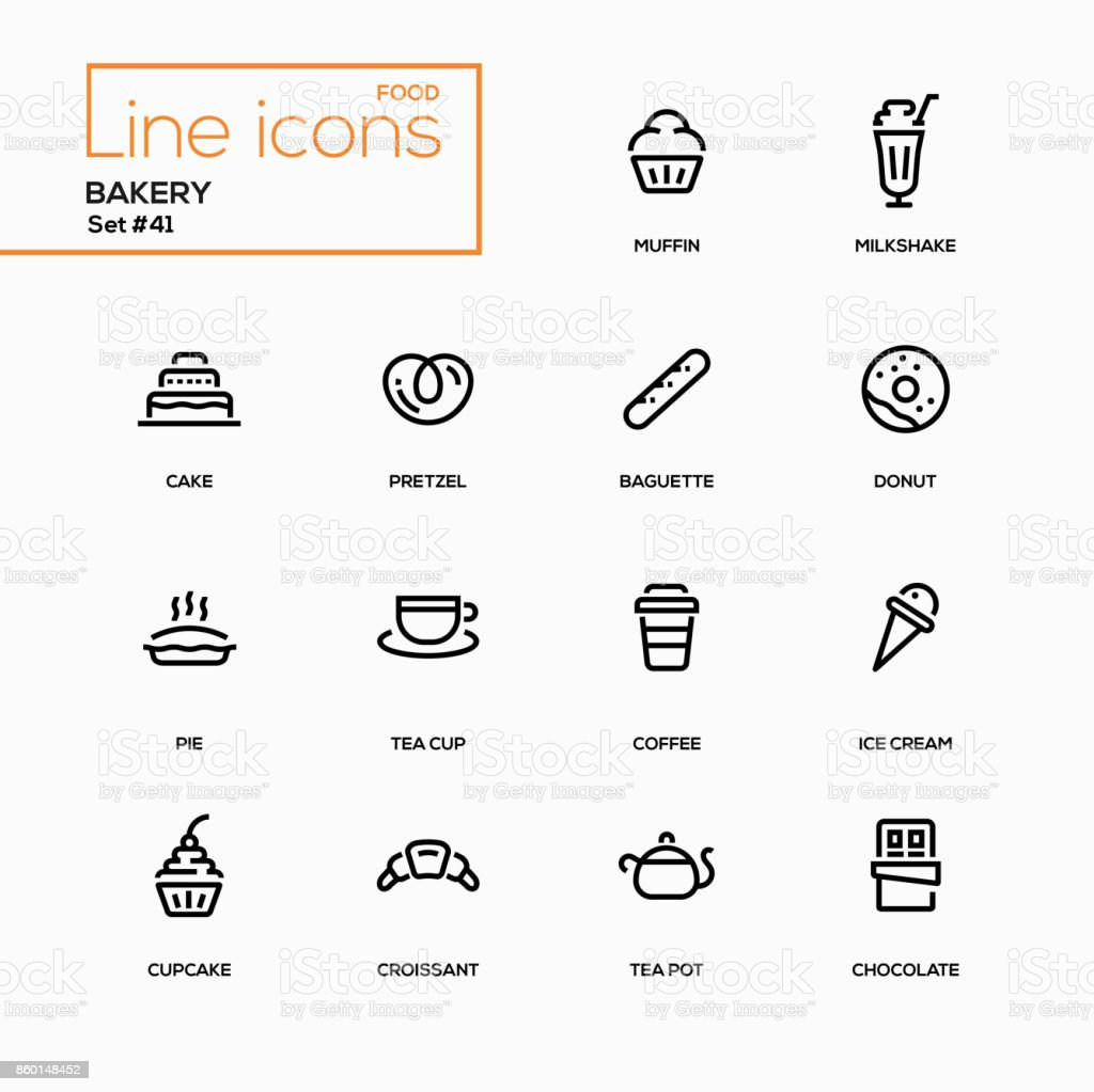 Bakery concept - line design icons set vector art illustration