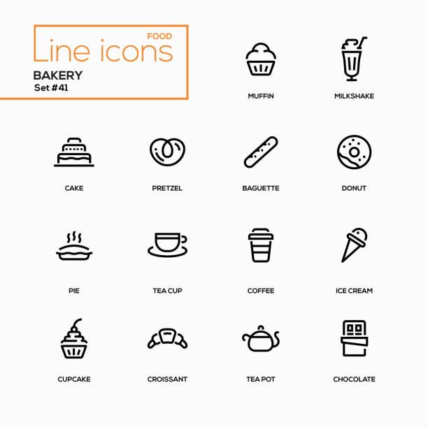Bakery concept - line design icons set Bakery concept - line design icons set. Everything about tasty pastry, dessert. Muffin, milkshake, cake, pretzel, baguette, donut, pie, tea cup, coffee, ice cream, cupcake, croissant, pot, chocolate cake clipart stock illustrations