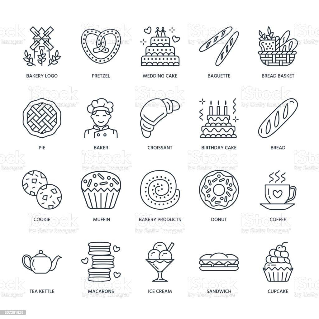 Bäckerei Konditorei Linie Symbole Konditoreiprodukte Kuchen ...