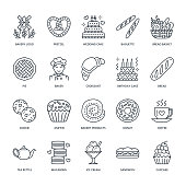 Bakery, confectionery line icons. Sweet shop products - cake, croissant, muffin, pastry, cupcake, pie. Food thin linear signs