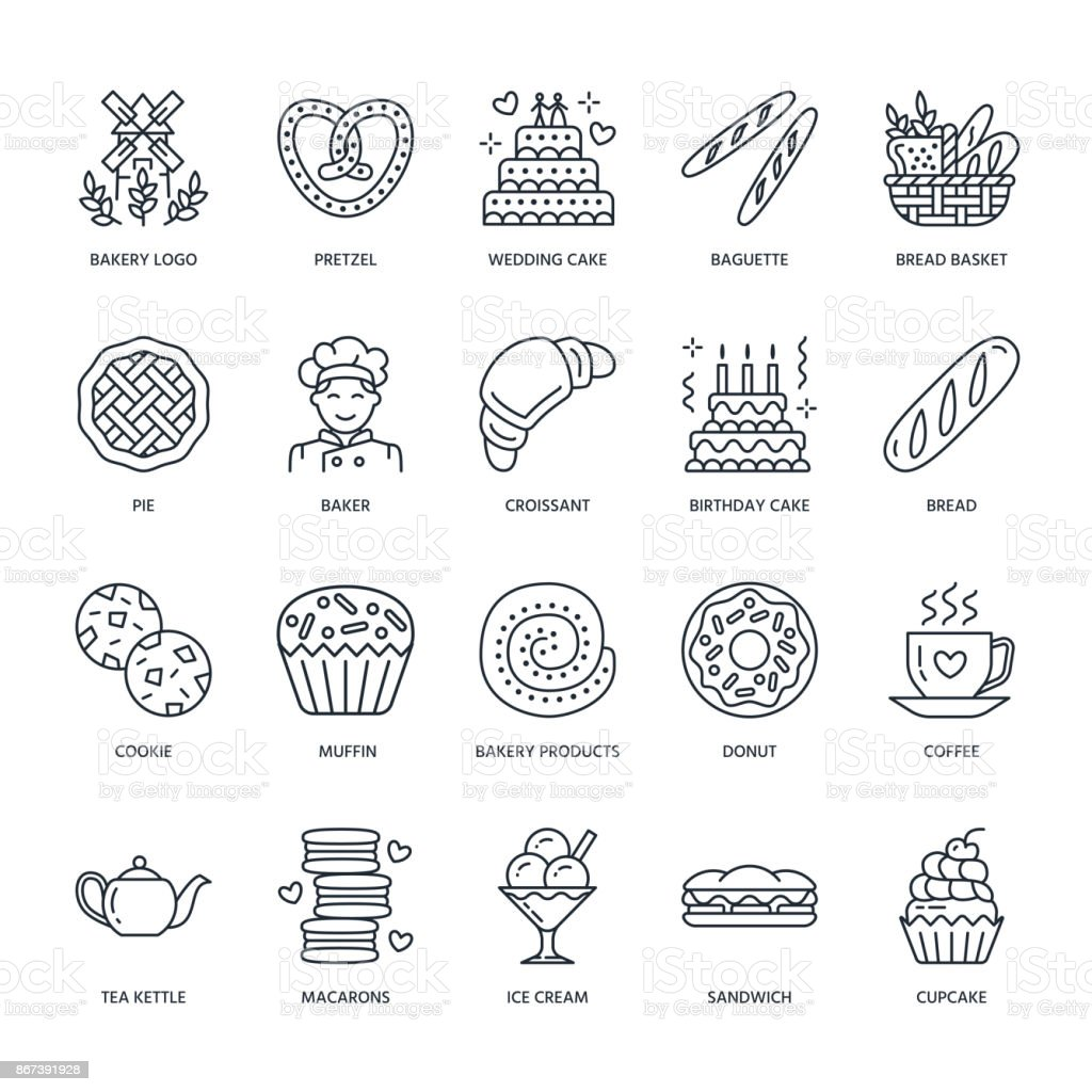Bakery, confectionery line icons. Sweet shop products - cake, croissant, muffin, pastry, cupcake, pie. Food thin linear signs vector art illustration