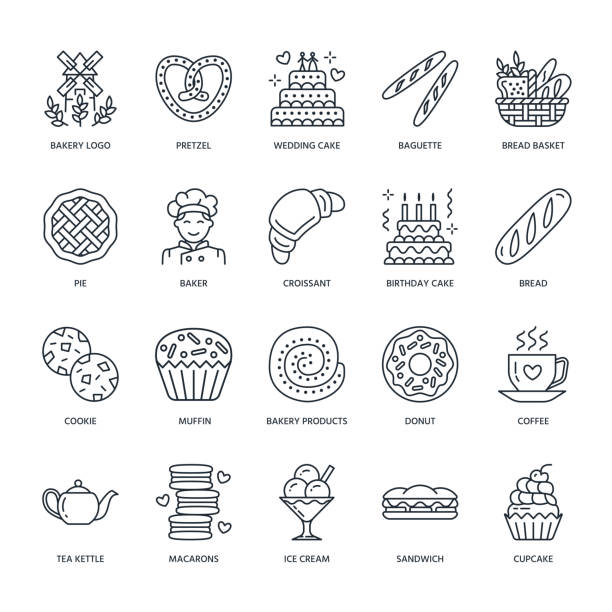 Bakery, confectionery line icons. Sweet shop products - cake, croissant, muffin, pastry, cupcake, pie. Food thin linear signs Bakery, confectionery line icons. Sweet shop products - cake, croissant, muffin, pastry, cupcake, pie Food thin linear signs wedding cake stock illustrations