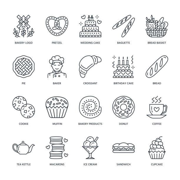 illustrations, cliparts, dessins animés et icônes de boulangerie, icônes de ligne de confiseries. produits - magasin de bonbons, croissant, muffin, pâtisserie, cupcake, gâteau, tarte. signes de linéaire minces alimentaires - boulanger