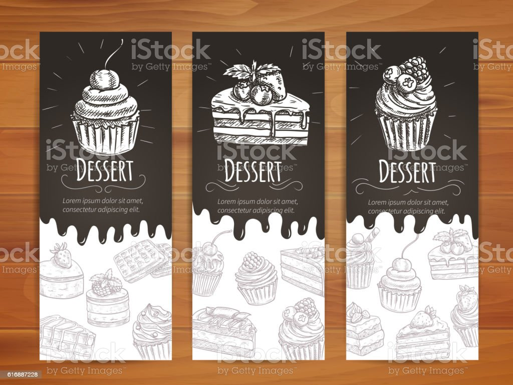 Bakery, confectionery, pastries, desserts poster vector art illustration