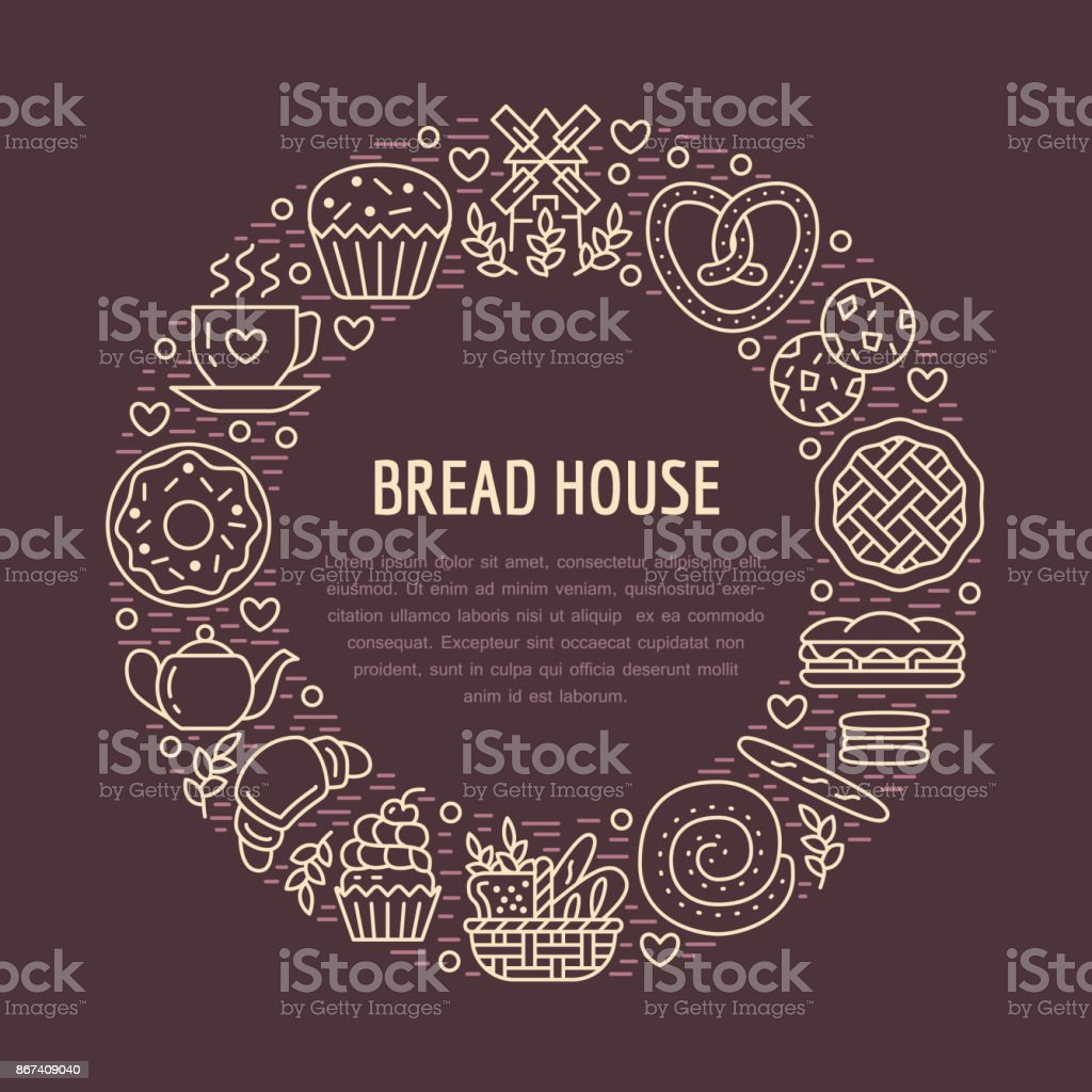 Bakery, confectionery poster template. Vector food line icons, illustration of sweets, pretzel, croissant, muffin, pastry cupcake, pie, mill. Bread house products dark banner with place for text vector art illustration