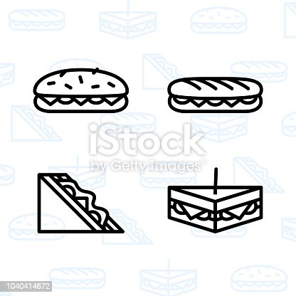 Bakery, dessert, cookies, snacks and food icon set and vector illustration. Panini, sandwich and club sandwich icons.